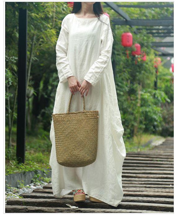 f79a58701dd White tunic dress long kaftan linen dress linen maxi dress loose cotton  dress long sleeve women dres