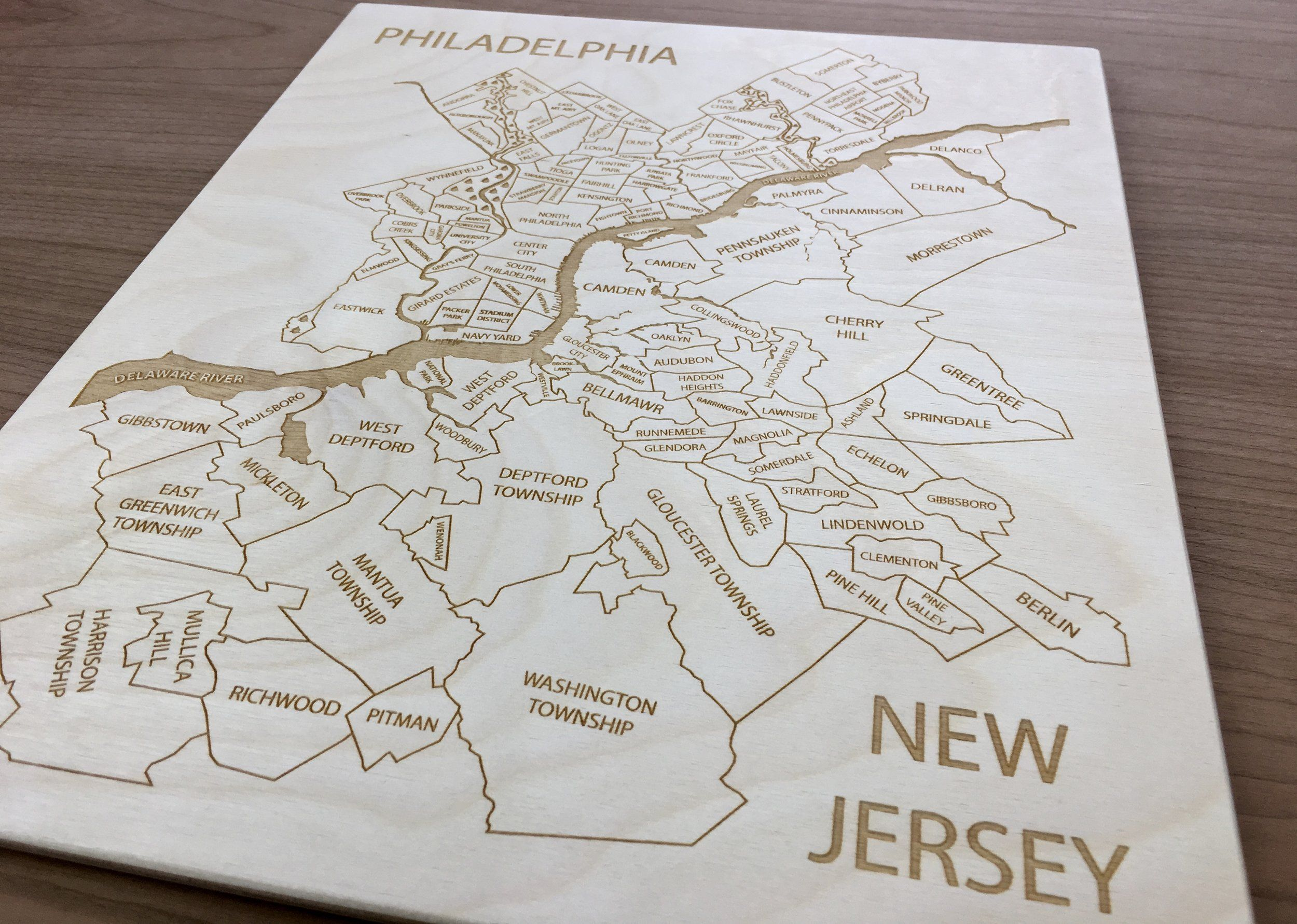 PhiladelphiaNew Jersey Engraved Wood Map by Etched
