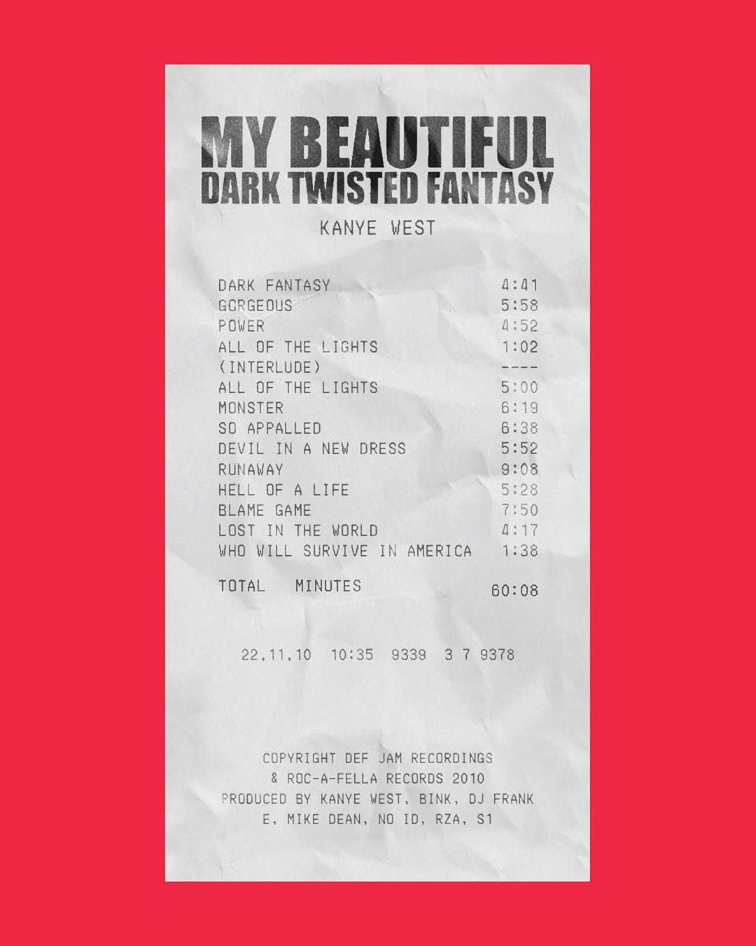 Album Receipts On Instagram My Beautiful Dark Twisted Fantasy By Kanye West In 2020 Beautiful Dark Twisted Fantasy Kanye West Album Cover Kanye West Wallpaper