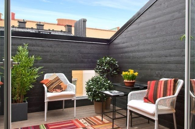 Exterior Design, Adorable Roof Deck Design Also Black And Dark Gray Wall  Color Also White Rattan Armchairs Also Black Exterior Coffee Table . Terrace  Design ...