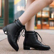 2015 de la alta calidad mujeres del cuero genuino botas tacones bajos de punta redonda con cordones de invierno cálido botines sólidos(China (Mainland))