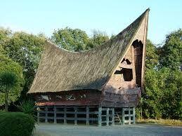 stro dak met huis aan rand van bos met water