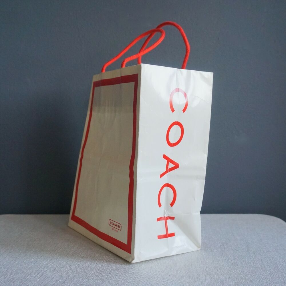 Coach Red White 8 X 10 Gift Glossy Paper Shopping Bag Red Rope Handles Coach Alloccasions In 2020 Rope Handles Glossy Paper Paper Shopping Bag