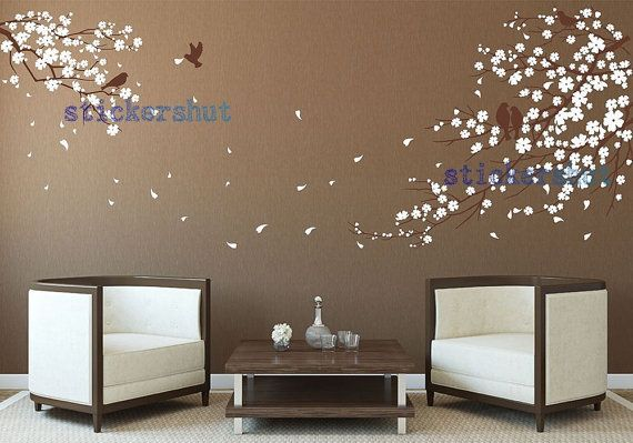 nursery cherry blossom birds wall decal stickers by thestickershut, $68.00