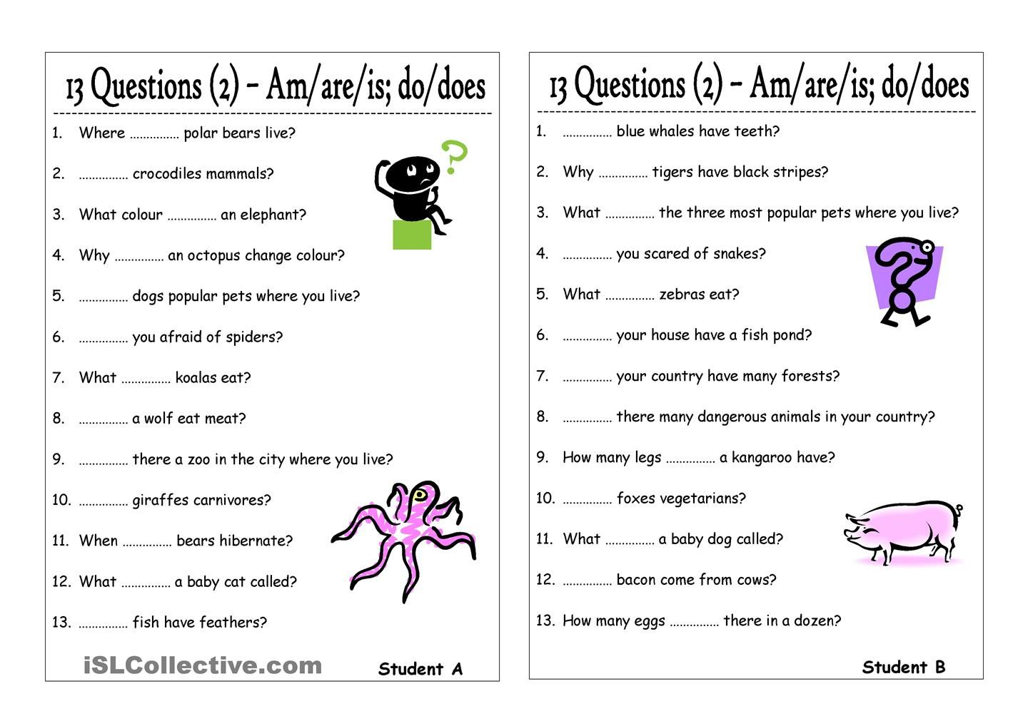 13 Questions 2 Am Are Is Do Does Pair Work This Or That Questions Reading Comprehension Worksheets Verb Worksheets [ 1018 x 1440 Pixel ]