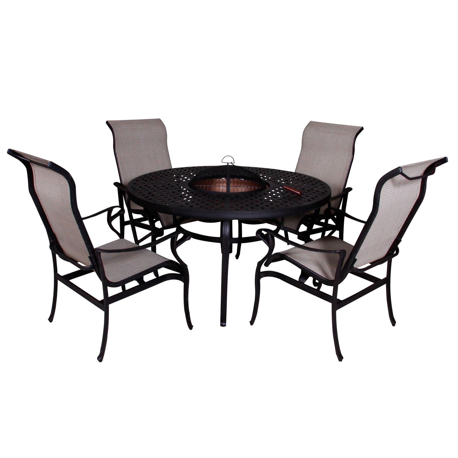 Lorraine Dining Height Fire Pit Table and Chairs (5piece