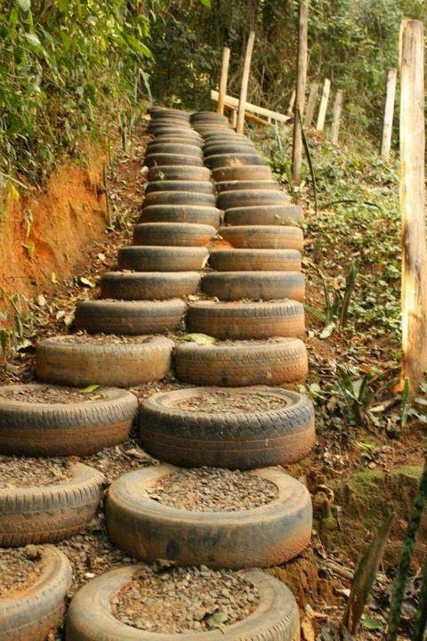 old tires filled with dirt to make stairs