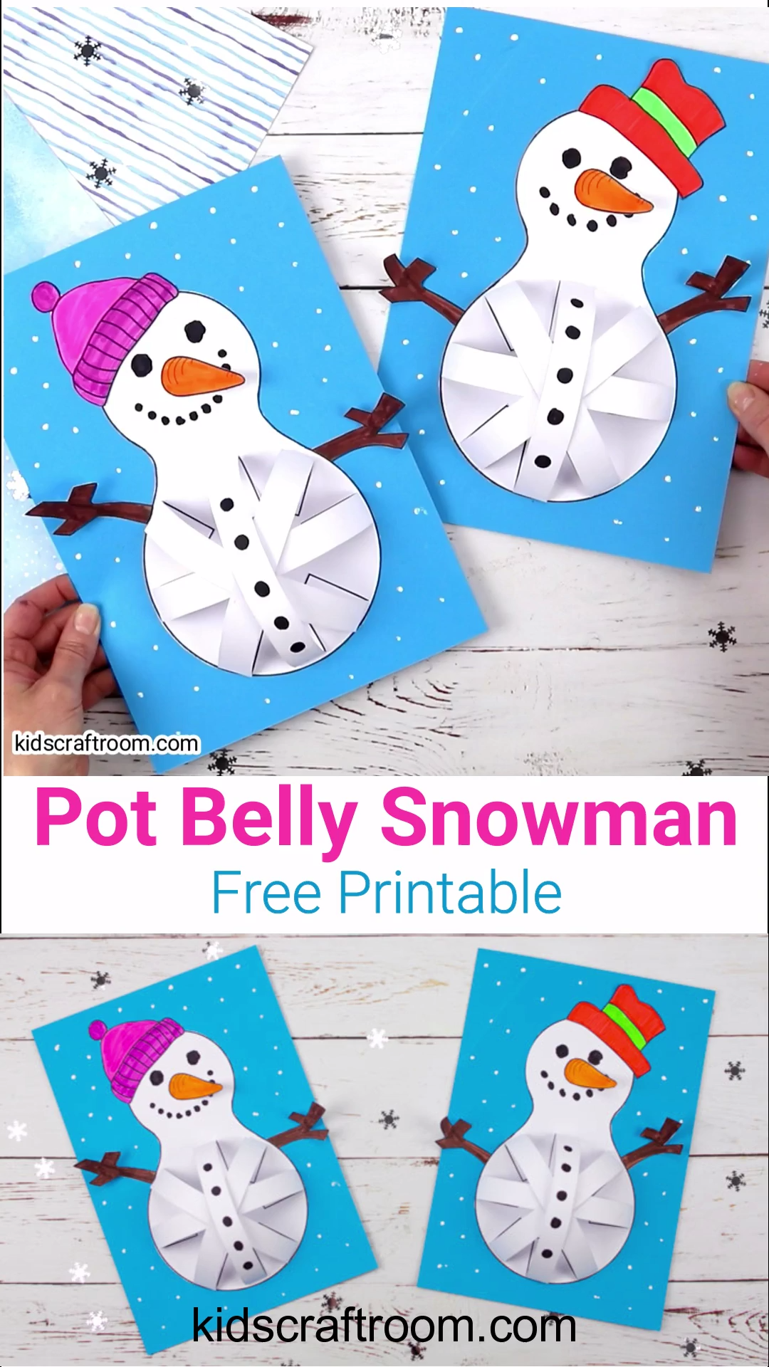 Photo of Pot Belly Snowman Craft – This 3D paper snowman craft for kids …