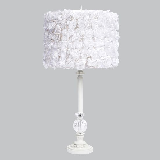 Jubilee Collection White Large Glass Ball Table Lamp With White