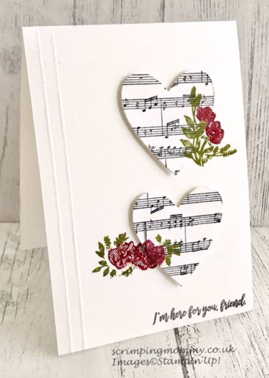 Handmade greeting card with music score hearts #handmade #card
