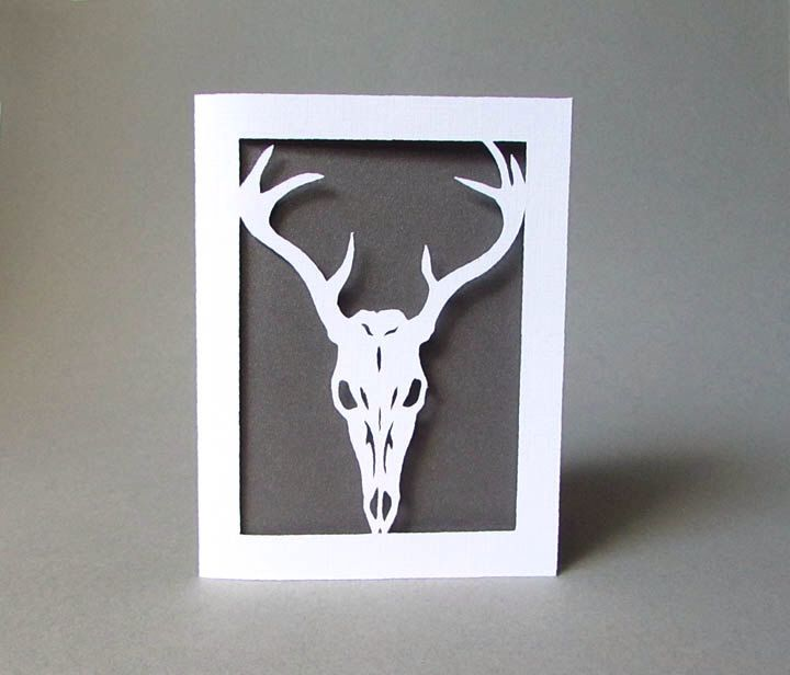 Deer Skull silhouette Nature Anatomy paper art https://www.etsy.com ...
