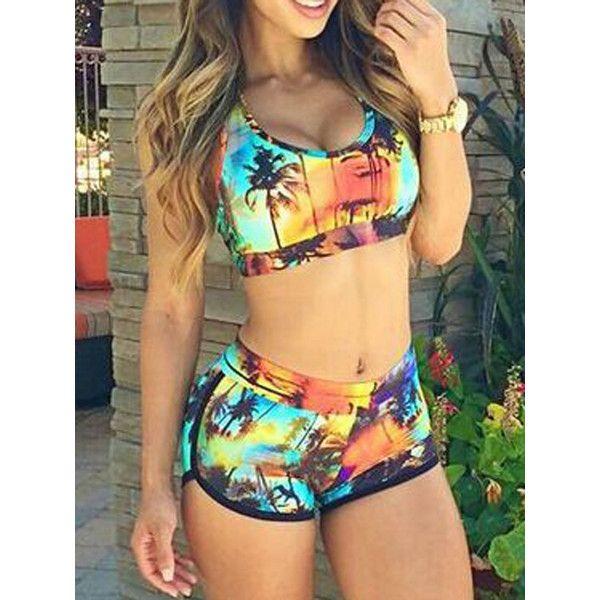 TOP HERE Womens Bandage Sporty Bathing Suit Boyleg Short Bikini Swimsuit