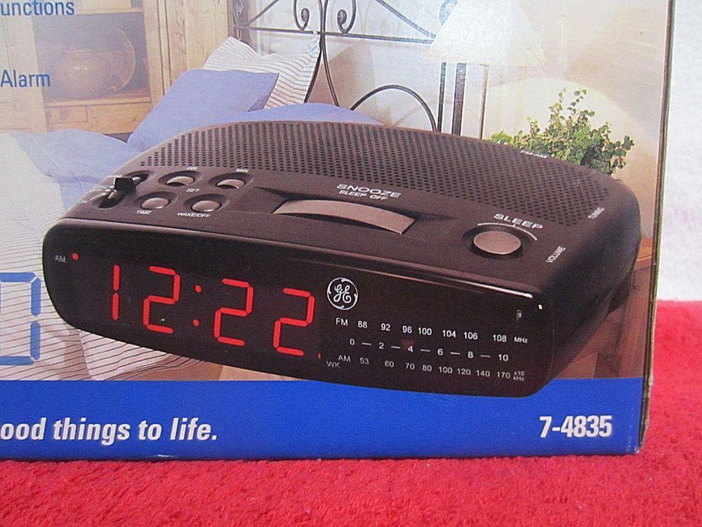 New General Electric Am Fm Alarm Clock Radio Retro Ge 7 4835 Red Display Backup Ge Modern Radio Alarm Clock Vintage Electronics Alarm Clock