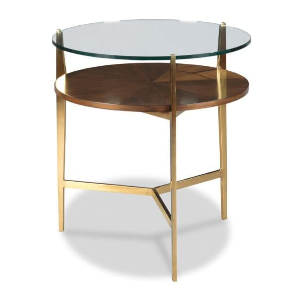 Woodbridge Furniture La Scala Side Table This Handsome Lamp Table Features A Round Glass Top Elevated On Brass Legs Woodbridge Furniture End Tables Side Table