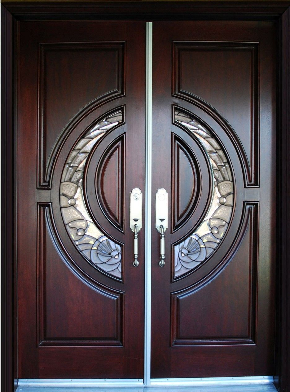 Furniture awesome beveled glass home entry doors design for Double wood doors with glass