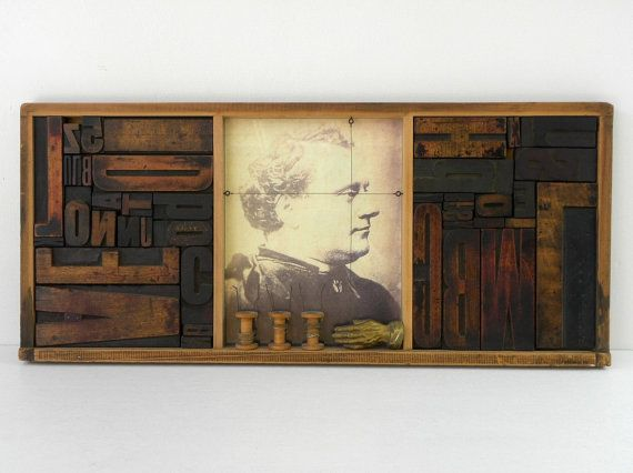 Assemblage with Vintage Letterpress Type Blocks by Chris Ferebee via Cathode Blue on Etsy, $600.00
