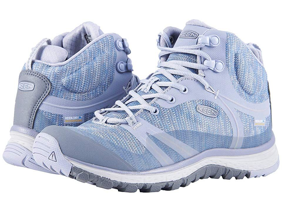 Keen Terradora Mid Waterproof (Dapple Grey/Vapor) Women's Shoes. Whether you are on the trail or in the city  the Keen Terradora Mid Waterproof hiking shoe will keep you dry  comfortable  and steady on your feet all day long. Lightweight breathable mesh and synthetic upper. Mid-boot design protects ankle area. Designed on a women's specific last for a comfortable fit. KEEN.DRY waterproof and breathable textile membrane keeps y #Keen #Shoes #ClosedFootwear #GeneralClosedFootwear #Blue