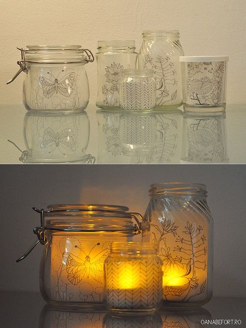 DIY: Decorative jars by oanabefort, via Flickr pinned with Bazaart
