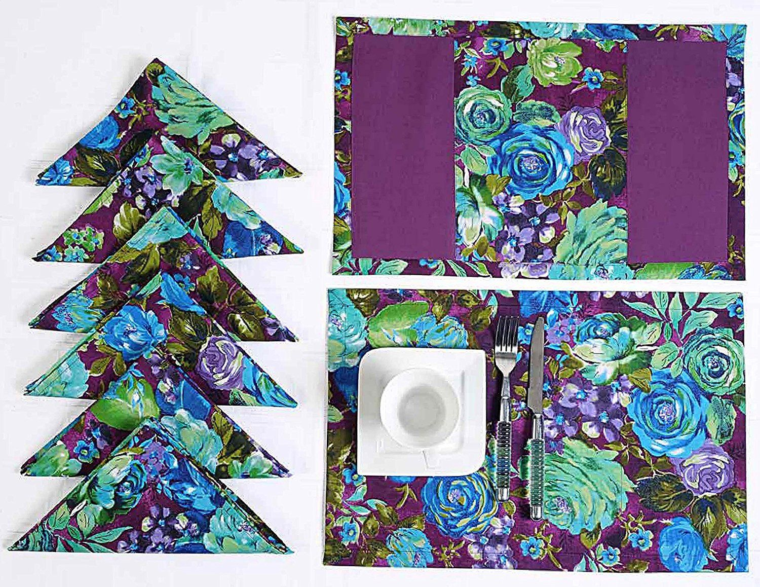 Luxury Napkin and Placemat Table Linens Set - Includes 6 Place Mats and 6 Napkins - Reversible ...