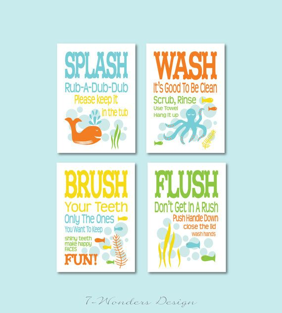 Diy Kids Bathroom Decor diy childrens kids bathroom art prints >>digital downloads -set of