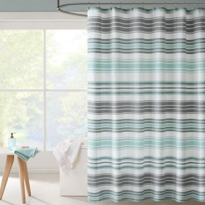 Lighten Up Your Bathroom Dcor With The Intelligent Design Ana Puckering Stripe Shower Curtain This Unique Fabrication Has A Water Repellent Technology