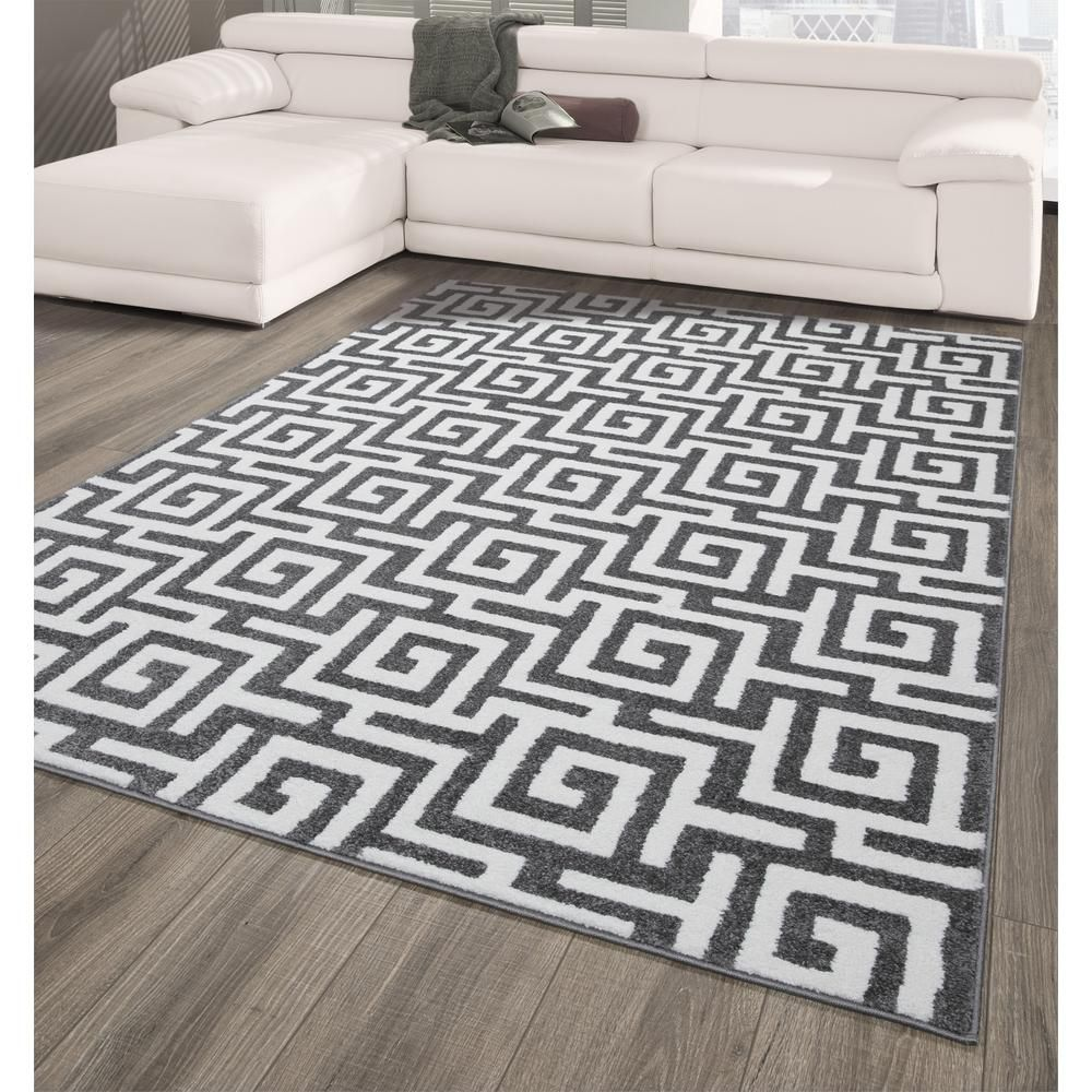 City Collection Dark Gray Greek Key 5 Ft X 7 Ft Indoor Area Rug