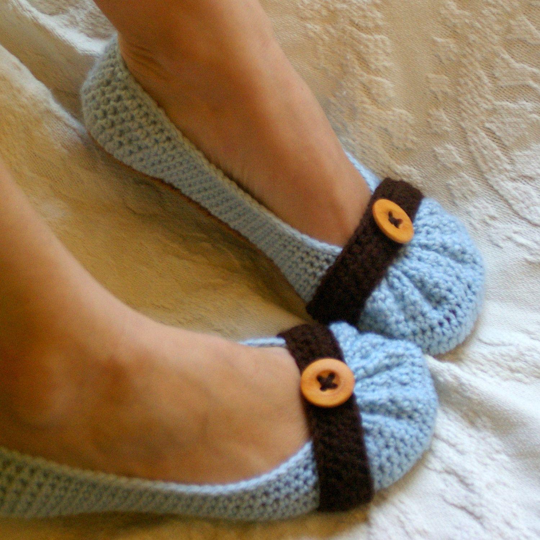 House slipper Crochet Pattern for Cute as a Button Ballet Flat House ...