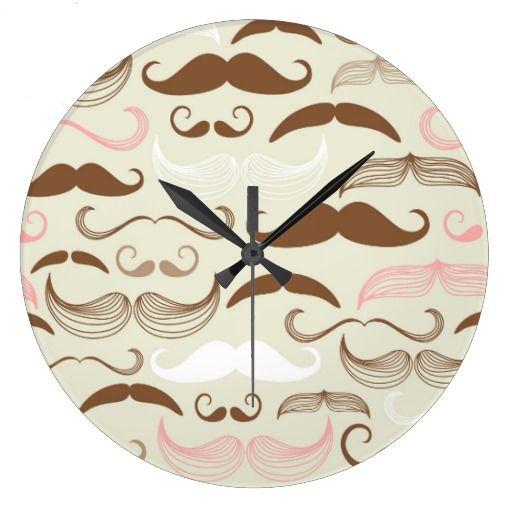 Pink, Brown & White Mustache Pattern Clock