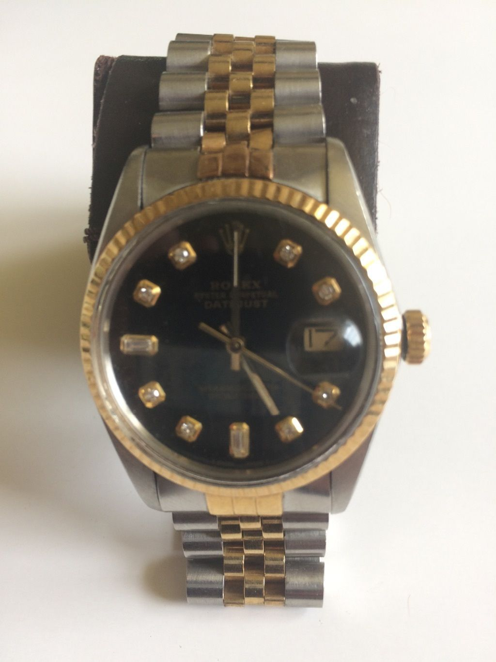 Forsale Rolex Oyster Perpetual Datejust 18k Yellow Gold Stainless Blk Face W Diamonds Auction 2 000 00 Oyster Perpetual Datejust Rolex Gold