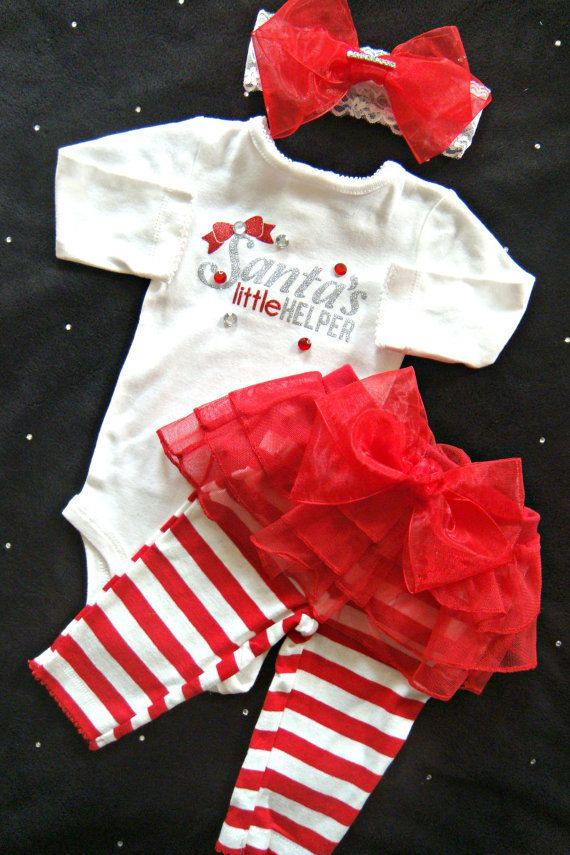 Baby Girl Christmas Outfit Christmas Bow by BeBeBlingBoutique - Baby Girls' Christmas Outfit, Complete Baby Girls' Christmas Set