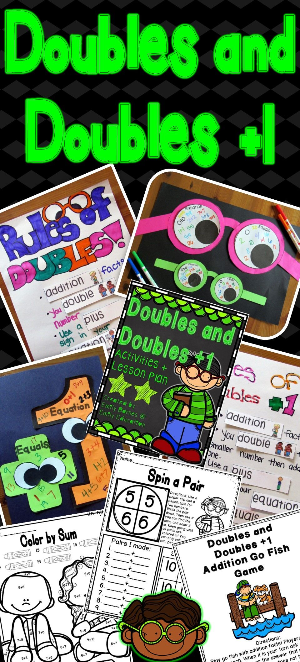 Doubles and Doubles Plus One Addition Facts Activities and Centers ...