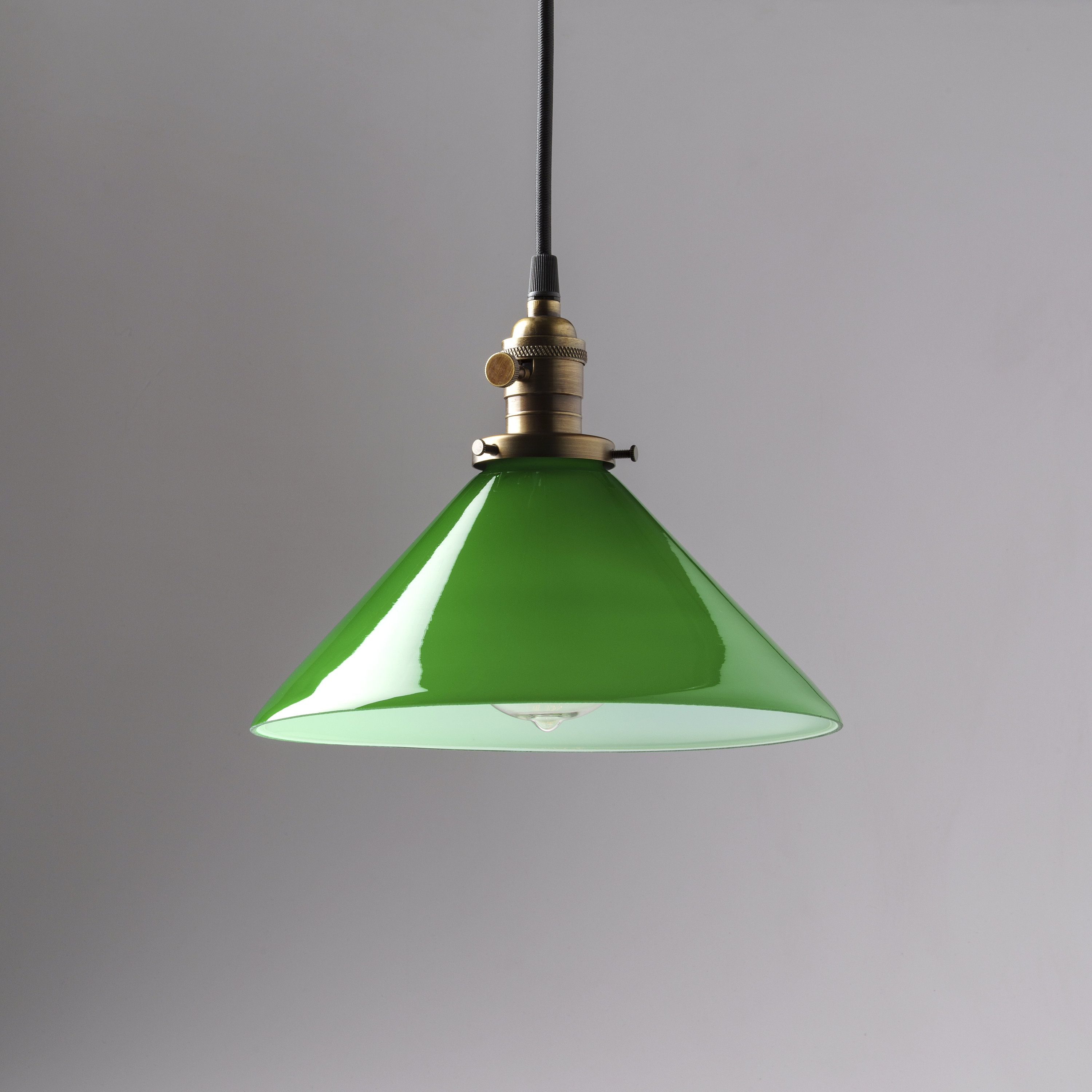 Glass Lamp Ceiling Pendant Light Fixture Green Glass Cone Shade 10