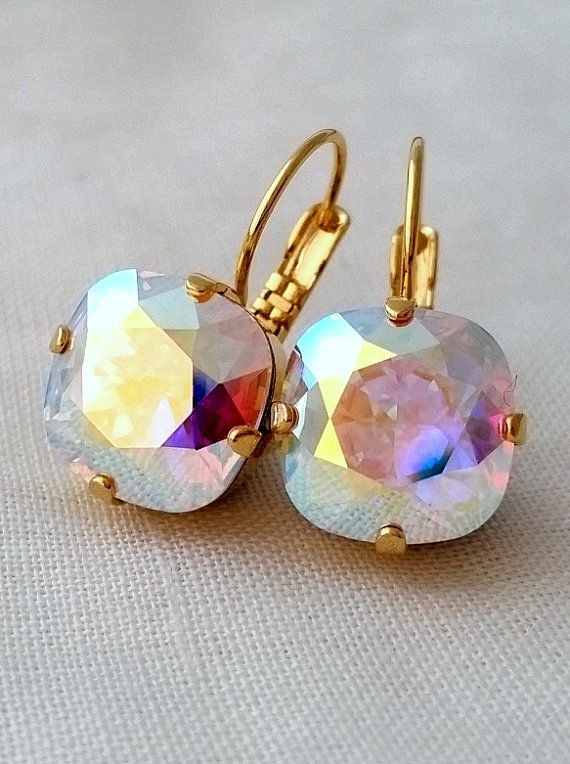 Aurora Borealis Crystal Earrings Swarovski Pastel Rainbow Drop Earring Bridesmaids Gift Gold Silver