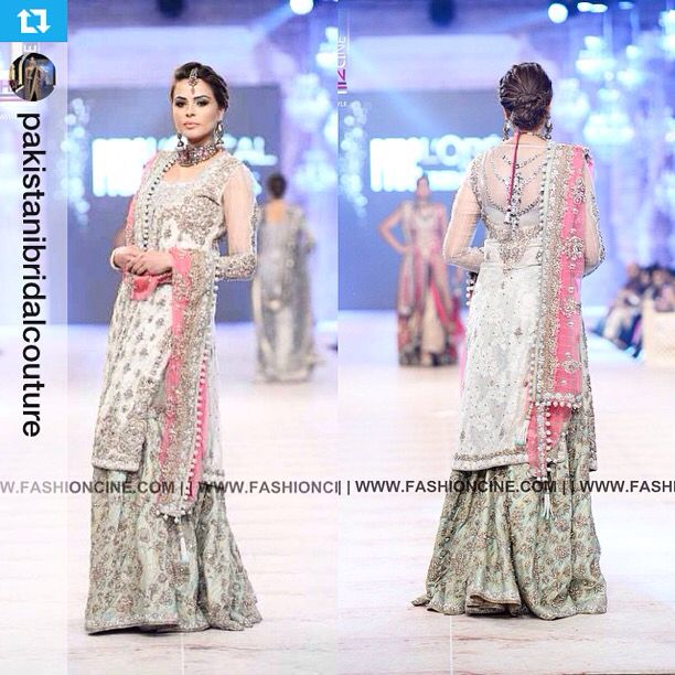 NickieNina mint green gharara, white and gold kameez with a pink dupatta