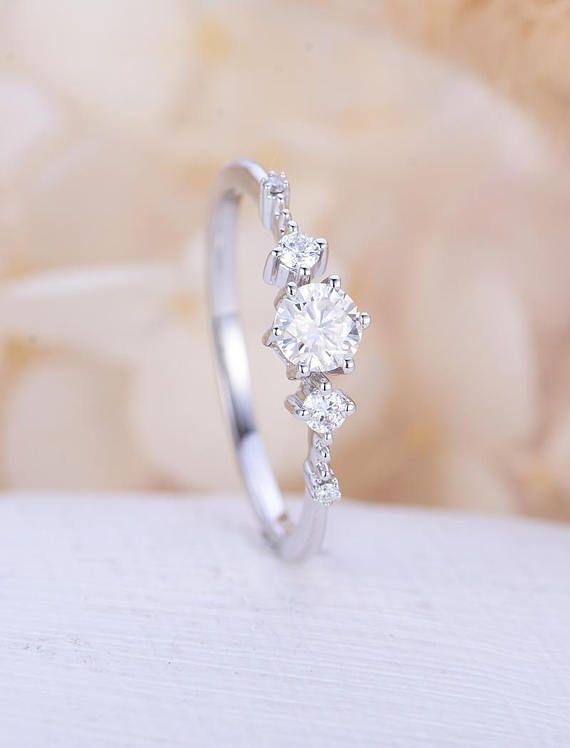 Photo of Vintage Moissanite Verlobungsring Weißgold Diamant Cluster Ring zierliche einzigartige Hochzeit Braut zarte Jahrestag versprechen Geschenk für