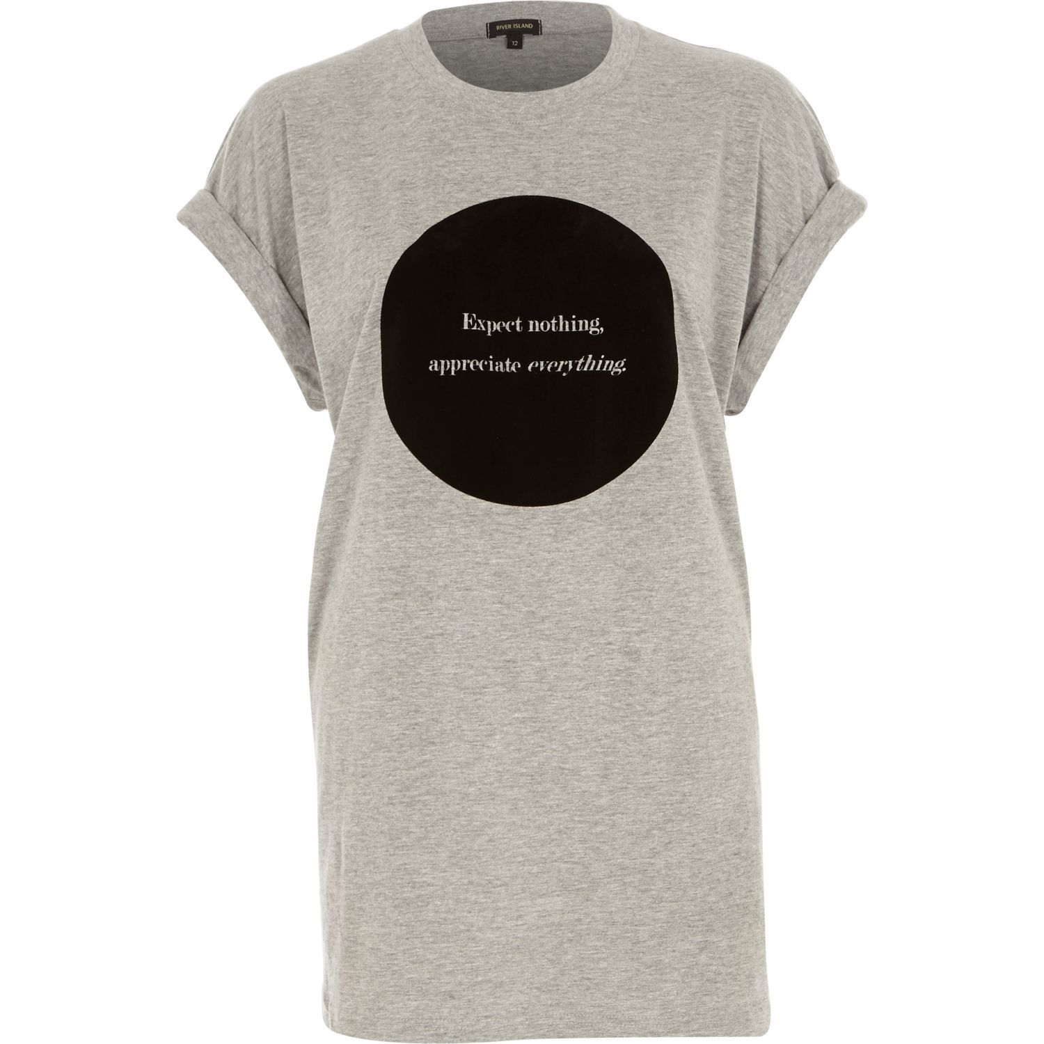 Grey Expect Nothing Appreciate Everything Print Oversized T Shirt