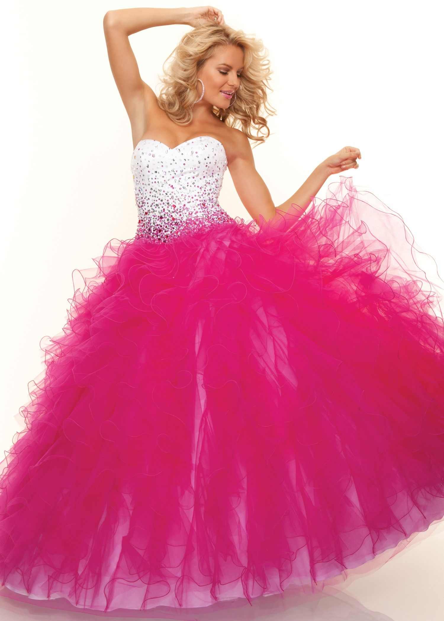 Fun White and Fuchsia Ball Gown - Paparazzi by Mori Lee 93100 ...