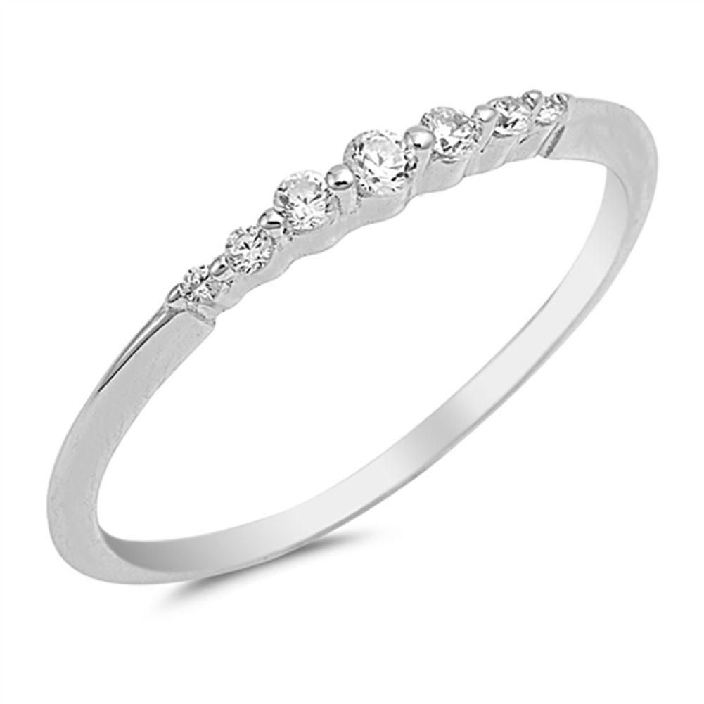 Sterling Silver Graduated 7 Stone Cubic Zirconia Ring Sterling Silver Wedding Band Silver Wedding Bands Sterling Silver Rings