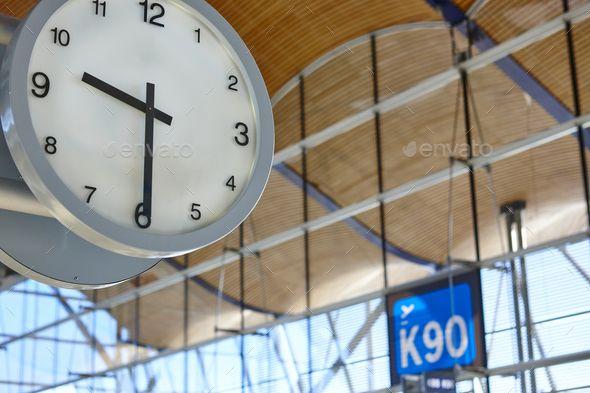 Indoor airport information watch. Departure gates. Travel