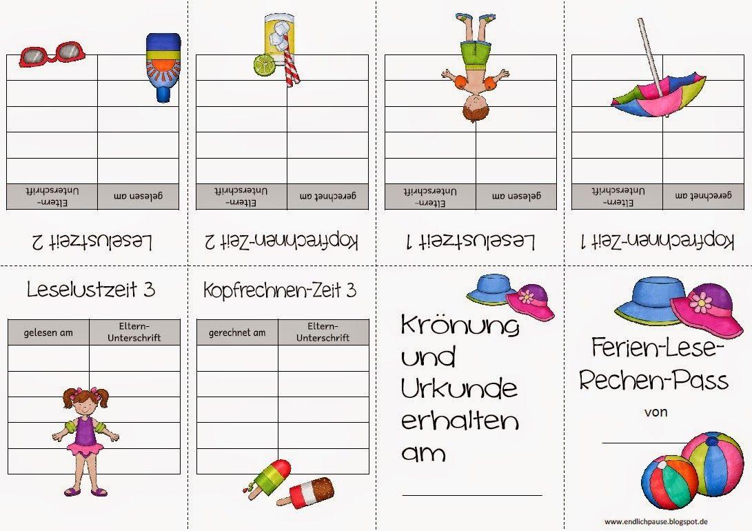 Ferien-Lese-Rechenpass | Schule | Kopfrechnen, Fit für die ...