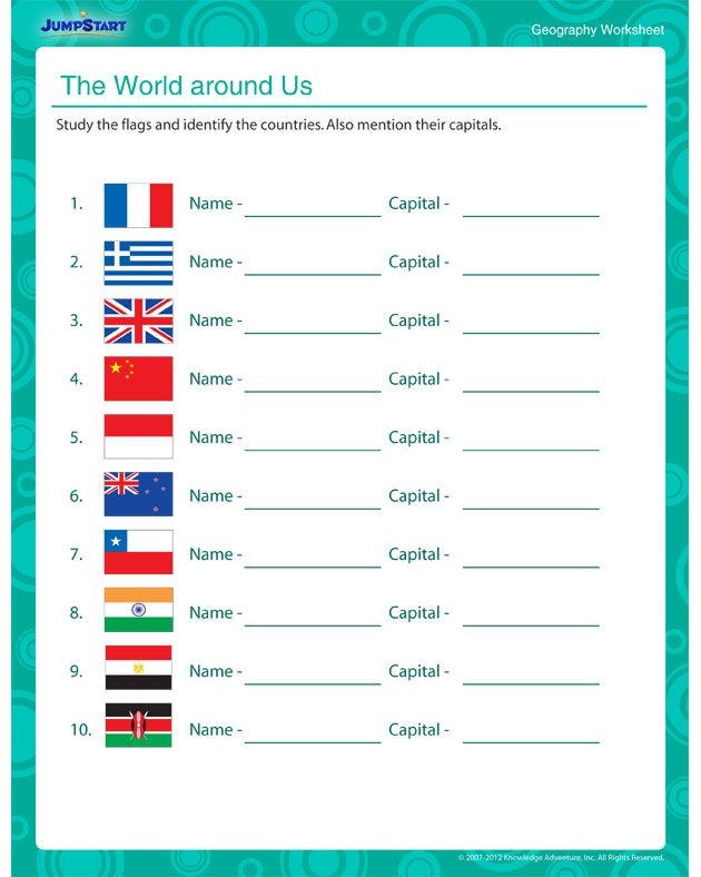 Printable Worksheets social studies geography worksheets : The World Around Us - 5th Geography Worksheet for Kids | Geography ...