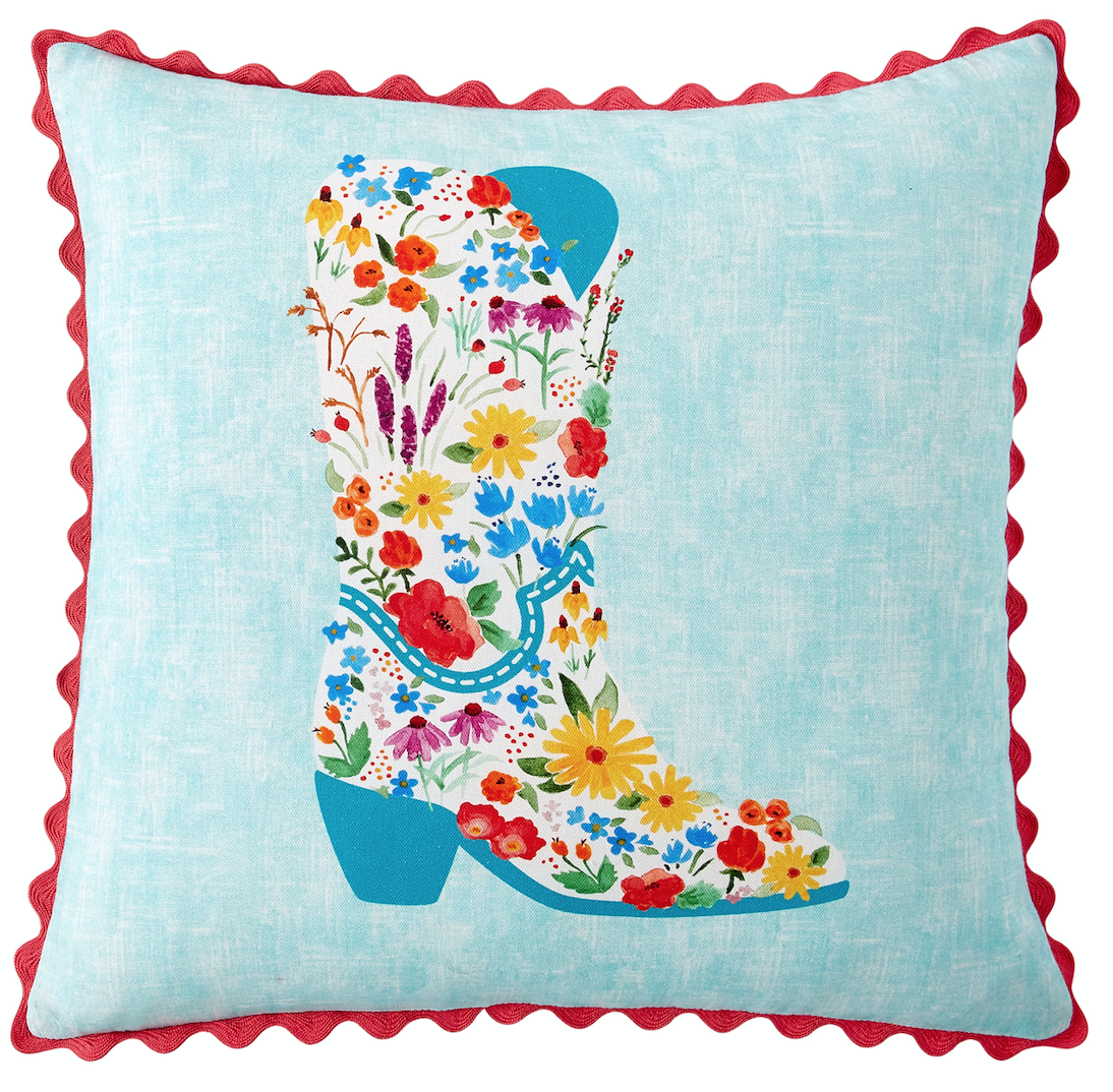 The Pillow Collection Paionia Floral Pillow Blue