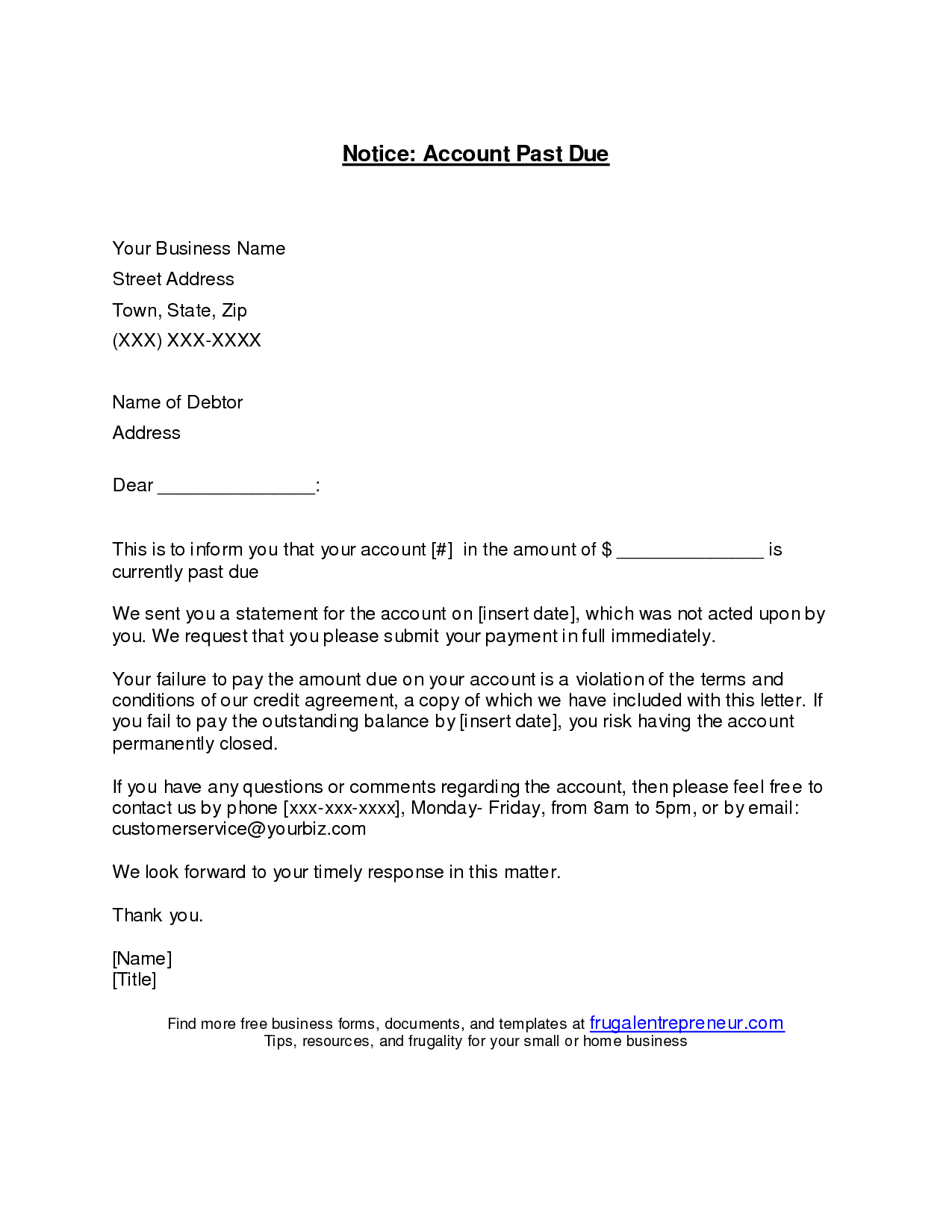 Past Due Invoice Letter Invoice Masqvcfo Small Business Owner