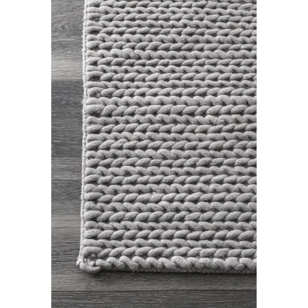 Hand Woven Chunky Woolen Cable Rug Light Grey Area Rug Grey Area Rug Area Rugs