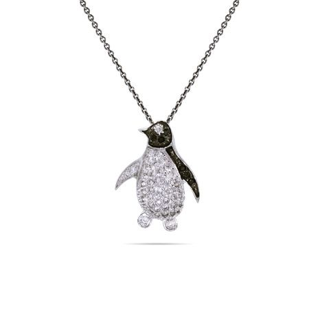 Black and White Micropave CZ Sterling Silver Penguin Pendant $45