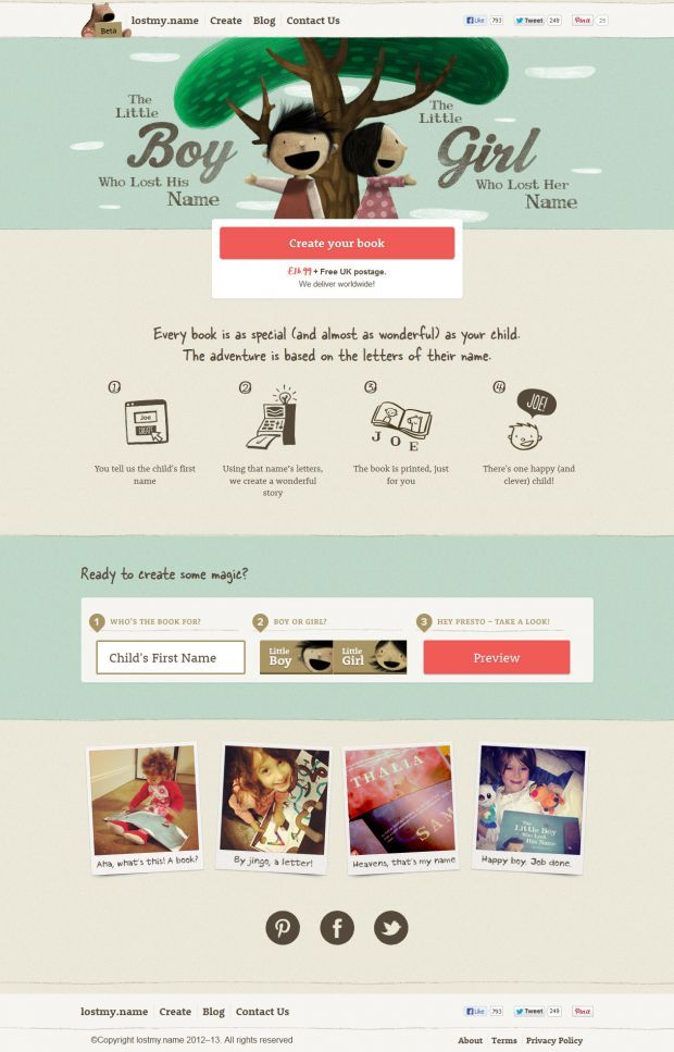Lostmy.name - The personal, beautiful, magical book - Webdesign inspiration www.niceoneilike.com