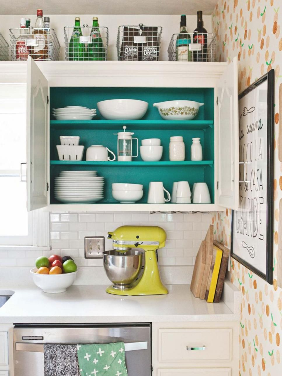 10 Ideas for Decorating Above Kitchen Cabinets | Smart storage ...
