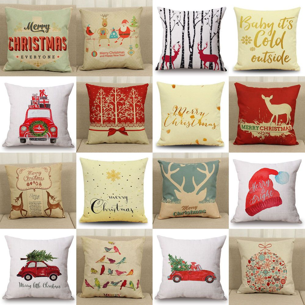 Christmas xmas linen cushion cover throw pillow case home decor