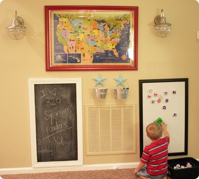 play wall: framed map (makes it dry erase), frame with blackboard ...