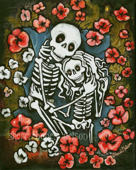 Skeleton couple art romantic gothic decor skeleton for Gothic painting ideas